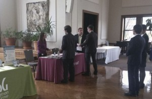 Students speak with representatives at the Career Expo