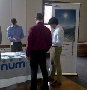 Students talk to Unum at Career Expo