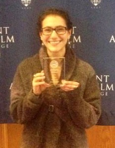 Sadie Hazelkorn '15 was named Best Witness at the regional Intercollegiate Mock Trial Tournament.