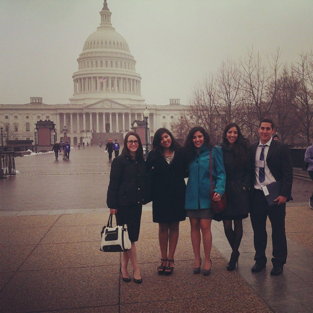 From left, Clark University students Danielle Strandson, Radhika Sharma, Mariana Lopez-Davila, and Oscar Zapata