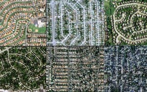 Aerial views of San Diego; Miami; Philadelphia; Chicago; Phoenix; and Levittown, N.Y. (N. Giner, Clark University)