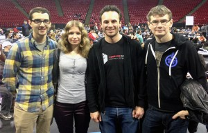 Elena Zhizhimontova '14 is pictured at the Bitcamp Hackathon with (from left) team member Nicholas Pozoulakis; Brendan Iribe, CEO of Oculus VR; and Michael Antonov, chief software architect at Oculus.