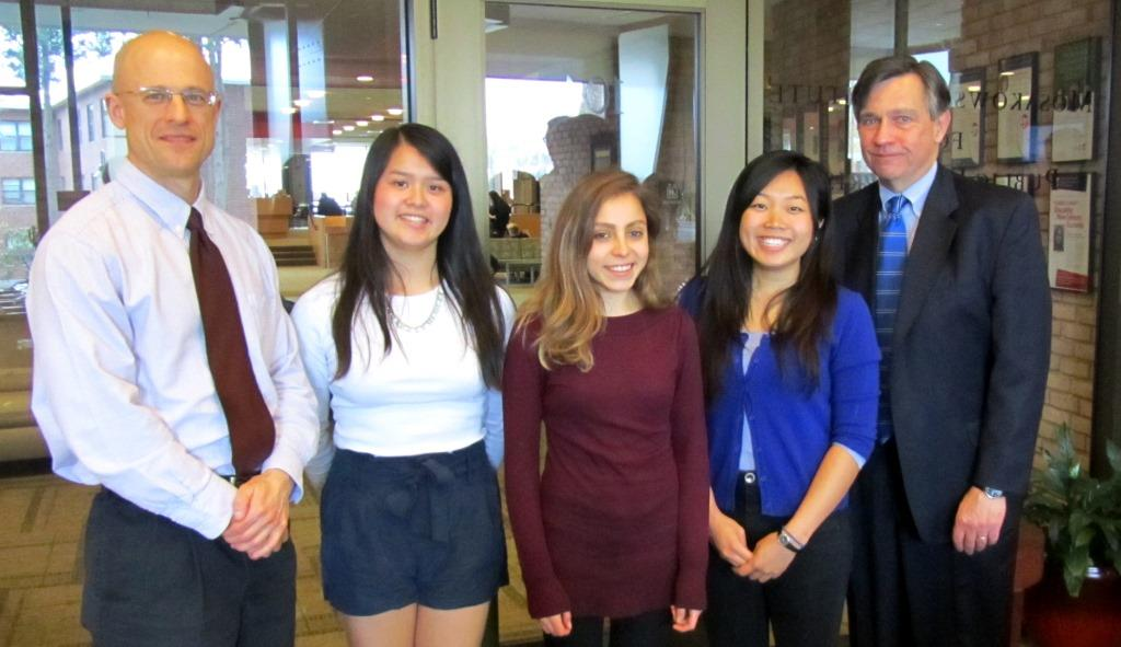 "The 2014 NOAA Fellows were introduced at Clark University April 29. Pictured, from left, are Robert Johnston, director of the Marsh Institute; Michino Hisabayashi; Julianne Murphy; Silvana ""Vanessa"" Carrasco; and Mosakowski Institute Director Jim Gomes."