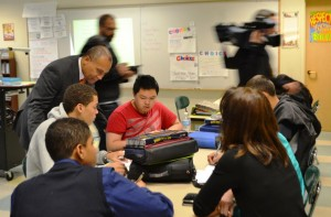 Gov. Deval Patrick visits with students at the Claremont Academy, where he announced $225,000 in Innovation Schools Fellowship funding, May 9.