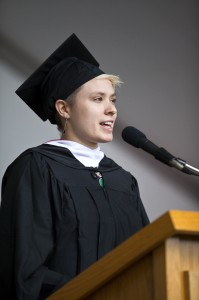 "Emma Pierson presented the annual Senior Address: ""We must break from our comforts, and realize that we are stronger without them."""