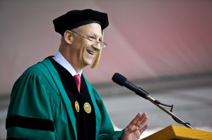 Ron Shaich '76, founder, chairman of the board, and CEO of Panera Bread Company, received an honorary degree and delivered the keynote Commencement address at Clark University, May 18.