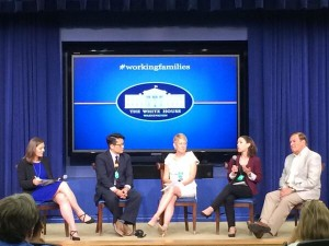 "Participants in the White House ""Working Fathers"" panel included Brigid Schulte, author of Overwhelmed, and a Washington post writer; Kipp Jarecke-Cheng (working father); Kathy Edin (sociologist; Harvard & Johns Hopkins); Clark Professor Abbie Goldberg; and Kyle Pruett (psychiatrist; Yale)."