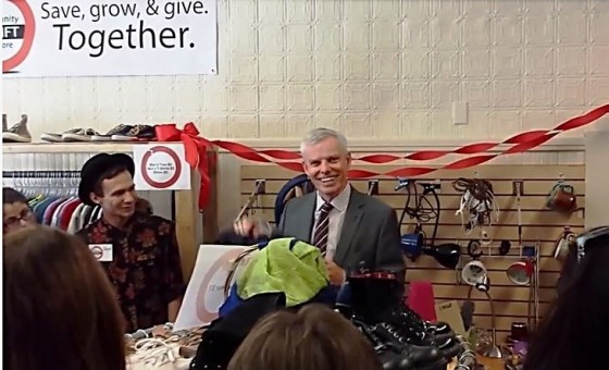 Clark University President David Angel speaks before a ribbon-cutting event at the Clark Community Thrift store, Sept. 5.