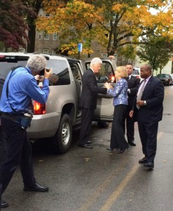 President Bill Clinton and Attorney General Martha Coakley talk outside Atwood Hall.