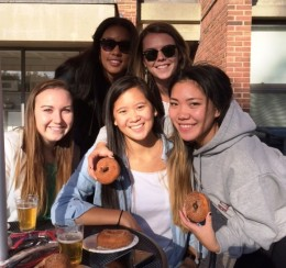 Enjoying the Alden Quad reception are (top row, from left) Rachel Hedgepath and Nina Walsh, and (bottom row, from left) Hannah Fox, Zoe Fishman and Sia Higa (all class of 2017)