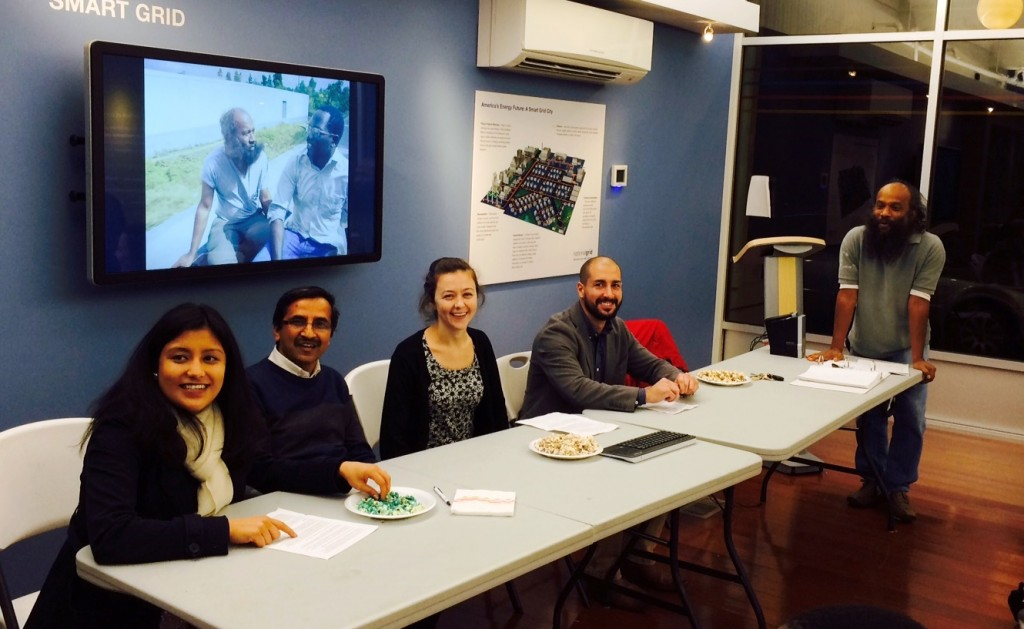 Clark graduate students Deviyani Dixit, Deviprasad Adhikari, Caitlin Alcorn, and Federico Sotomayor, along with Jude Fernando, associate professor of International Development and Social Change, recapped their Haiti fieldwork, at an October dinner and presentation held in the National Grid Sustainability Hub on Main Street, Worcester.
