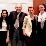 Patricia De Carvalho '15 (third place), contest sponsor Hervey Ross '50/LHD '07, Katherine Liptak '15 (first place), and Spencer Gale '15 (second place).