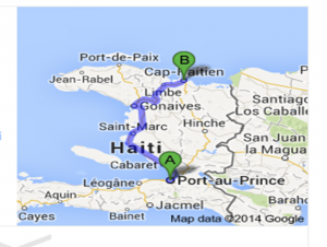 The students traveled from Port-au-Prince to Cap Haitian.  haiti traveled by the Clark University stuents