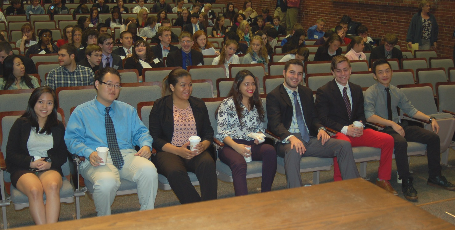 From Left to Right (Stephanie) Huong T. Le '17, Kevin Kim '16, Melineth Vasquez '18, Johanna Merlos '16, Justin Lewis '16, Michael Pierce '16, and Lance Yau '16 at the opening ceremony of the 5th Annual Clark High School Model UN Conference.