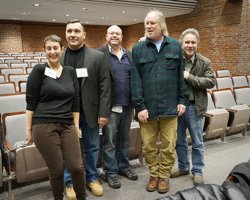 "(L. to r.) Daniela Barbosa '00, Professor Gino DiIorio '83, Dan Zisson '95, Professor Raymond Munro and Professor Steve DiRado at last week's screening of ""Home."""