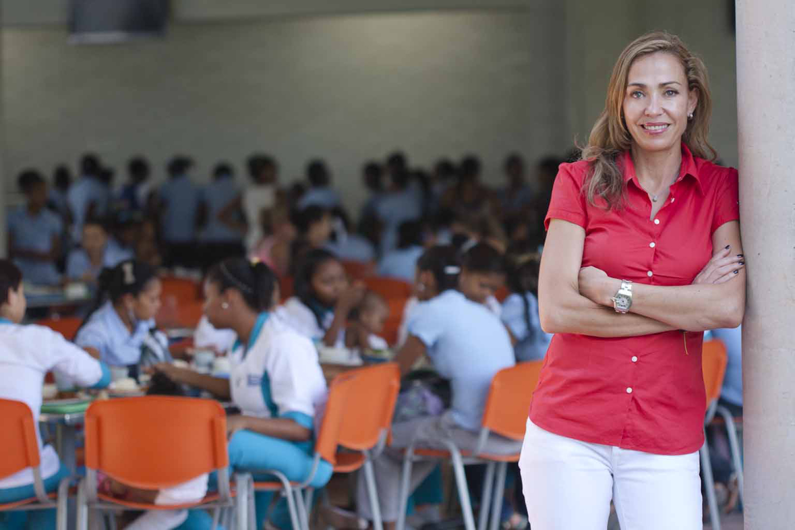 Esteemed social entrepreneur Catalina Escobar '93 will speak at Clark's Commencement, May 22. She is pictured here at the Juanfe Foundation in Colombia, which she created and directs.