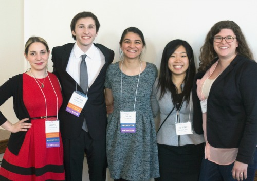 Joining forces at the Third Culture Kids/Global Nomads Conference (Feb 27) at Clark University are, from left, conference co-chairs Melina Toscani '16 and Santiago Deambrosi '17, and presenters Farah Weannara '16, Michino Hisabayashi '15, and Maisha McCormick '13. (Photo: Fileona Dkhar '17)
