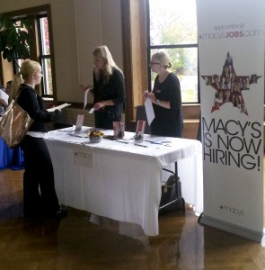 Students speak to Macy's at the Career Expo